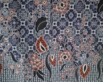 blue   flowers Thai  traditional print ,Thai Batik ,batik sarong fabric,cotton 2 yards.