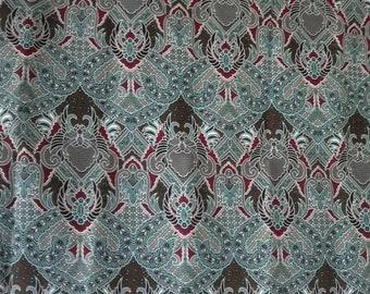 blue  flowers print Thai  traditional print ,Thai Batik ,batik sarong fabric,cotton 2 yards.