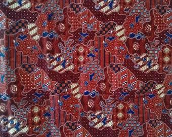 brown flowersThai traditional print ,Thai Batik ,batik sarong fabric,cotton 2 yards textile,sorong,wrap skirt, Indonesia batik,Sarong