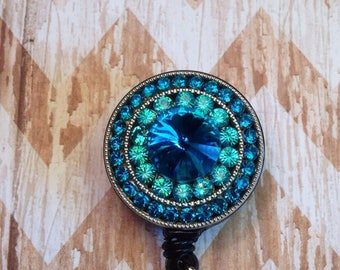 Turquoise crystal bling retractable badge reel