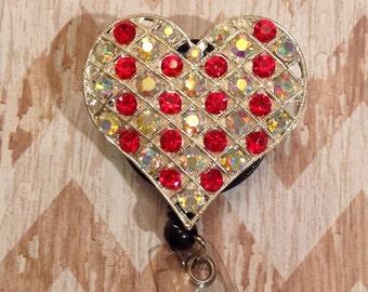 Red heart badge reel