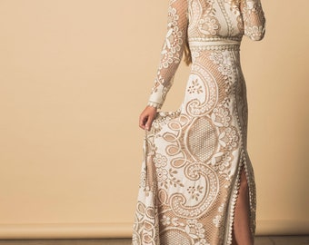 86670049626d Wedding dress, boho wedding dress, lace wedding dress, vintage weddong dress,  plus size wedding dress, hohemian wedding dress, made to order