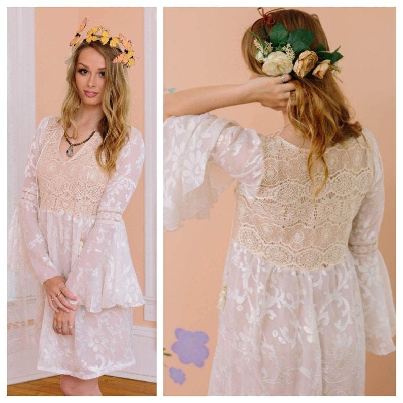 Boho Wedding Dress Reception Dress Bridal Shower Dress Hippie Wedding Dress Casual Wedding Dress Crochet Lace Dress Velvet Burnout