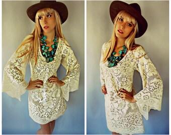 Crochet Lace Dress, Crochet Lace Wedding Dress, Boho Wedding Dress, Crochet Lace Bell Sleeve Dress, Bell Sleeve Wedding Dress