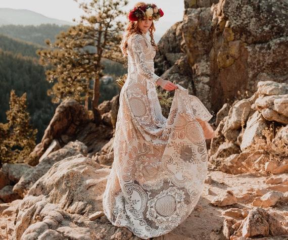 Wedding dress, boho wedding dress, lace wedding dress, vintage weddong  dress, plus size wedding dress, hohemian wedding dress, made to order