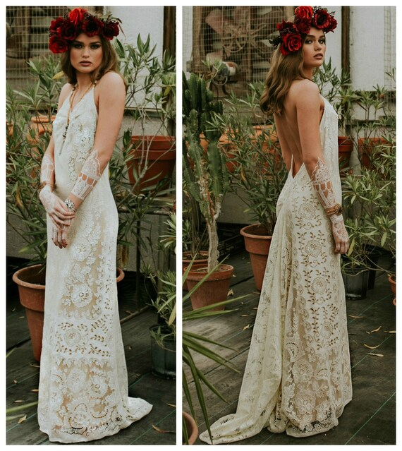 Fabulous Trouwjurk Boho Wedding Dress kant trouwjurk Casual   Etsy #DA99
