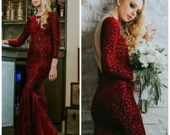 Wedding dress, boho wedding dress, Velvet burnout dress, red wedding dress, boho wedding dress, holiday dress, holiday party dress, colored
