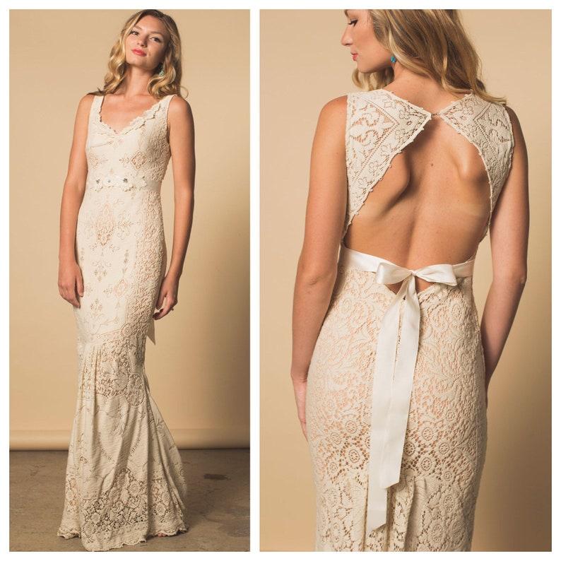 Wedding Dress Lace Wedding Dress Boho Wedding Dress Keyhole Etsy