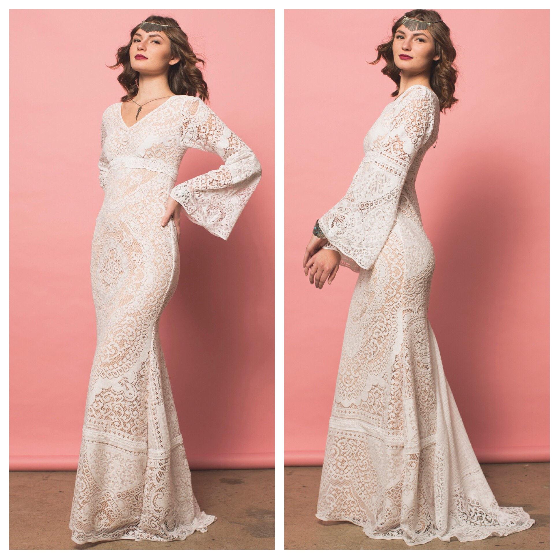 Wedding dress lace wedding dress boho wedding dress boho