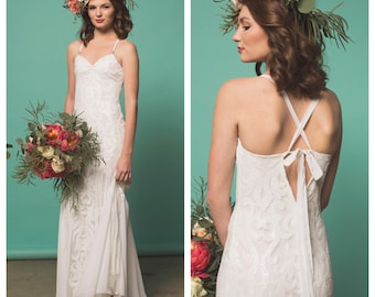 Boho Wedding Dress, Wedding Dress, Sequin Wedding Dress, Chiffon Wedding Dress, beach wedding dress, sequin dress, cocktail wedding dress,