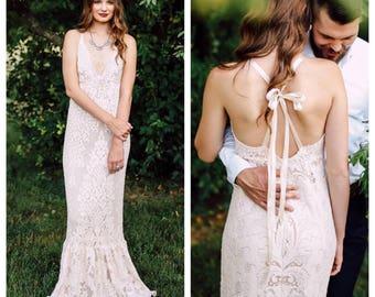 Boho Wedding Dress, Wedding Dress, Lace Wedding Dress, Vintage Wedding Dress, Beach Wedding Dress, Trumpet Wedding Dress, Mermaid Wedding