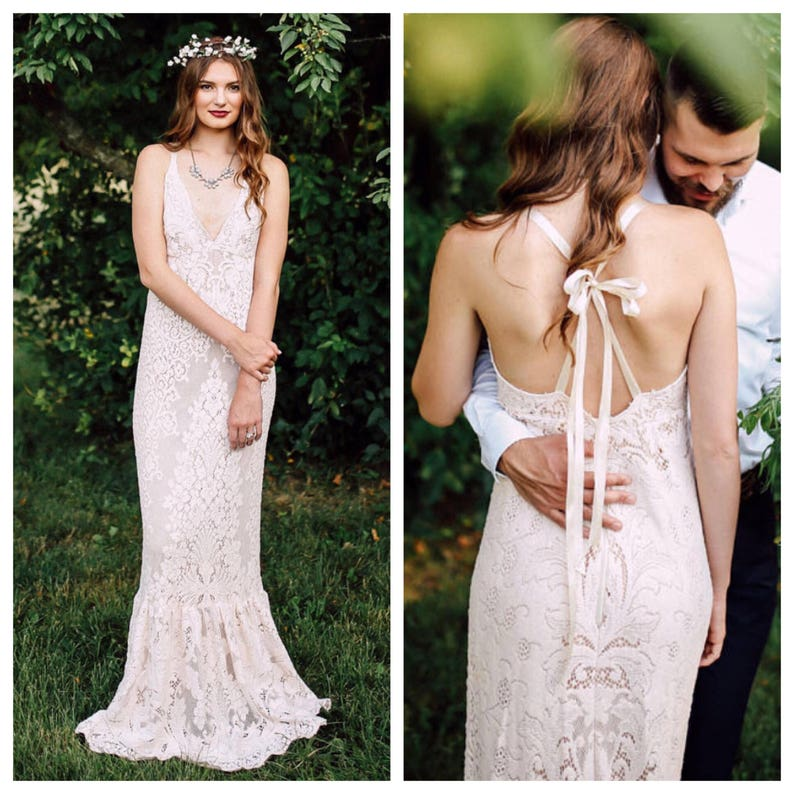 Vintage Trouwjurk Belgie.Boho Wedding Jurk Trouwjurk Lace Bruiloft Jurk Vintage Etsy