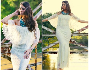 Wedding dress, Boho wedding dress, boho lace wedding dress, lace wedding dress, off the shoulder wedding dress, mermaid wedding dress, ruffl