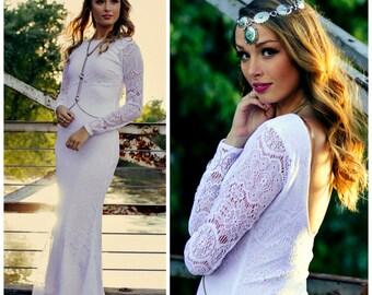 Wedding dress, Crochet Lace Dress, Crochet Lace Wedding Dress, Boho Wedding Dress, Crochet Lace Sleeve Dress, Vintage Wedding Dress