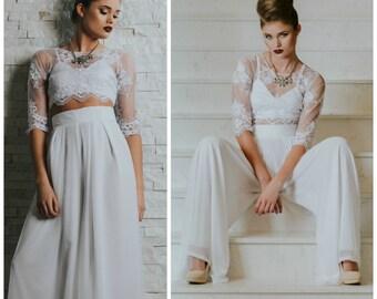 Wedding dress, Cropped Top Wedding Dress, Wedding pants, Wedding pants suit, Wide leg chiffon pants, wide leg wedding pants, wedding pants,