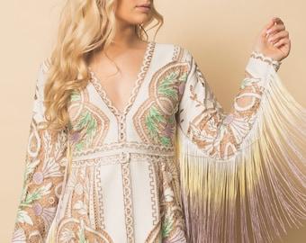 Boho wedding dress, lace wedding dress, fringe wedding dress, hippie wedding dress, festival dress, vintage lace wedding dress, boho lace dr