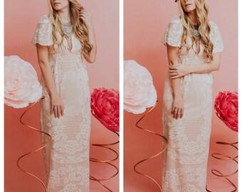 Wedding dress, boho wedding dress, crochet wedding dress, lace wedding dress, lace dress, beach wedding dress, vintage wedding dress