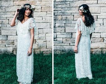 Crochet Lace Dress, Crochet Lace Wedding Dress, Boho Wedding Dress, black wedding dress, colored wedding dress, Scoop Back