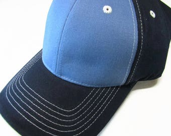 Navy and Light Blue Two Toned Ball Cap Hat Cotton Twill Monogrammed Custom Embroidery for men or women