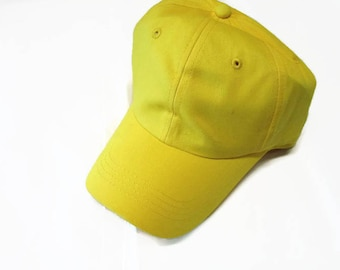 Yellow Ball Cap Hat Cotton Twill Monogrammed Custom Embroidery for men or women
