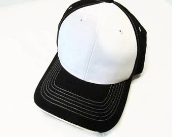 Black and White Two Toned Ball Cap Hat Cotton Twill Monogrammed Custom Embroidery for men or women