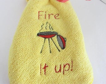Embroidered Barbecue Microfiber Towel BBQ