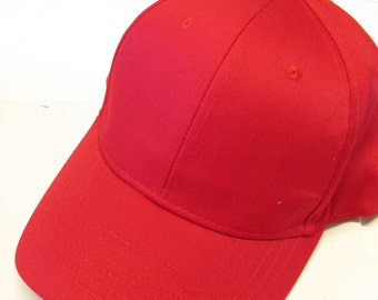 Red Ball Cap Hat Cotton Twill Monogrammed Custom Embroidery for men or women