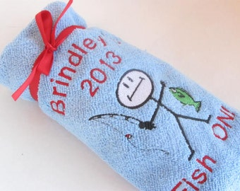 Embroidered I Fish Microfiber Towel for Boat or Outdoors with Free Fishing Baits Personalized