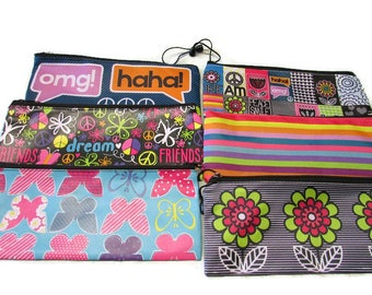 Pencil Case Makeup Bag Zippered Pouch Personalized or Monogram Nylon Small