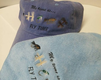 Fly Fishing Ball Cap Hat with Matching Fly Fishing Towel