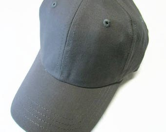 Gray Ball Cap Hat Cotton Twill Monogrammed Custom Embroidery for men or women