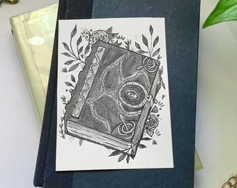 Original Pen & Ink Halloween Illustration (Hocus Pocus- Spell Book), Macabre Painting, Spooky Collectable Decor by Sarah Bustillo