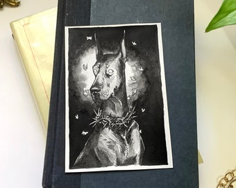 Original Pen & Ink Halloween Illustration (Hell Hound), Macabre Painting, Spooky Collectable Decor by Sarah Bustillo