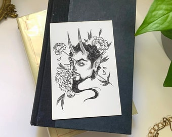 Original Pen & Ink Halloween Illustration (Devil's Peonies), Macabre Painting, Spooky Collectable Decor by Sarah Bustillo