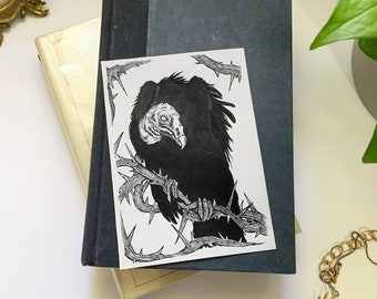 Original Pen & Ink Halloween Illustration (Vulture), Macabre Painting, Spooky Collectable Decor by Sarah Bustillo