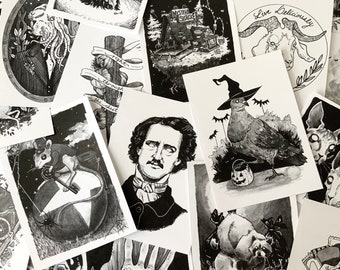 """5x7"""" Art Print, Pen & Ink Drawing, Halloween Illustration, Macabre Painting, Spooky Collectable Decor by Sarah Bustillo"""