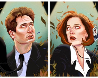 """11x14"""" X-Files Art Print, Digital Drawing, Halloween Illustration, Mulder/Scully Painting, Spooky Collectable Decor by Sarah Bustillo"""
