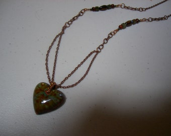 Heart on Copper Chain Necklace