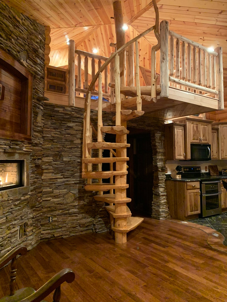 Rustic Pine Spiral Staircase   Custom Made To Order!
