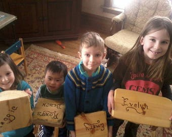 Monogrammed Rustic Pine Children's Benches.