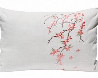 Cherry Blossom Flower Print Rose Quartz Pink Floral Pillow Flowers Throw Pillow Cover Shabby Chic Farmhouse Decor Nursery Decor Gift for Her