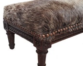 18th Century French Tabouret Cowhide Stool Cowhide Footstool Cowhide Ottoman Rare Antique Primitive Hand Carved Walnut Wood Furniture