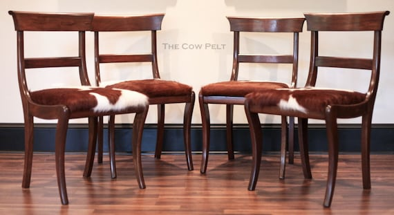 Stupendous Cowhide Dining Chairs Antique English Regency Dining Chairs Vintage Dining Chair Black Walnut Wood Furniture Unique Rustic Home Decor Bralicious Painted Fabric Chair Ideas Braliciousco