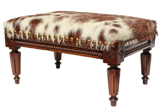 Brilliant Cowhide Stool Cowhide Footstool Cowhide Ottoman 1800S Antique French Tabouret Hand Carved Wood Furniture Vintage Leather Hide Furniture Theyellowbook Wood Chair Design Ideas Theyellowbookinfo