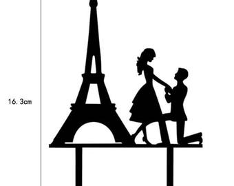 Eiffel Tower Paris France Europe Proposal Love Silhouette Black Acrylic Wedding Cake Topper  - Baking, Caking and Craft Tools from Bakell