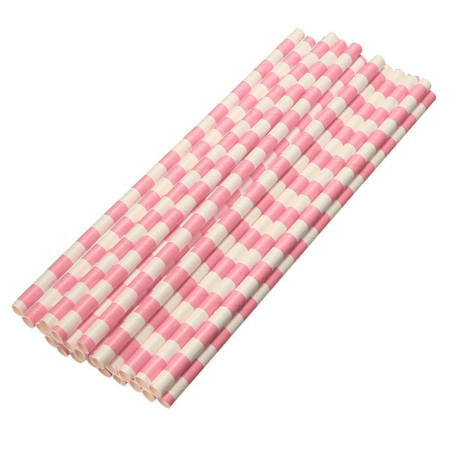 Bakell 12 Count Cake Pop Straws Light Pink And White Horizontal