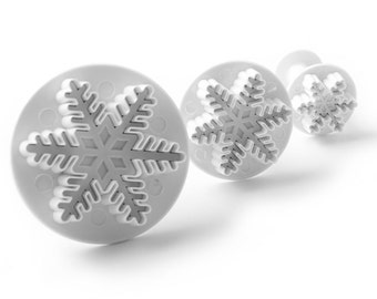 3 PC Set Snowflake Impression Plunger Pop-Out Cutters - Fondant / Gum paste Tools from Bakell - cupcake toppers, penguin polar bear