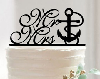 Bakell™ Silhouette Nautical Anchor Wedding Cake Topper