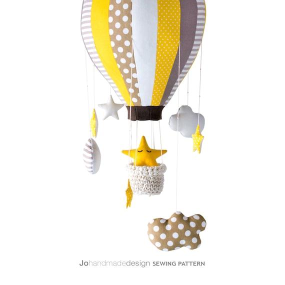 B3 DIY Tutorial Heißluftballon mit Korb Sterne und Wolken | Etsy
