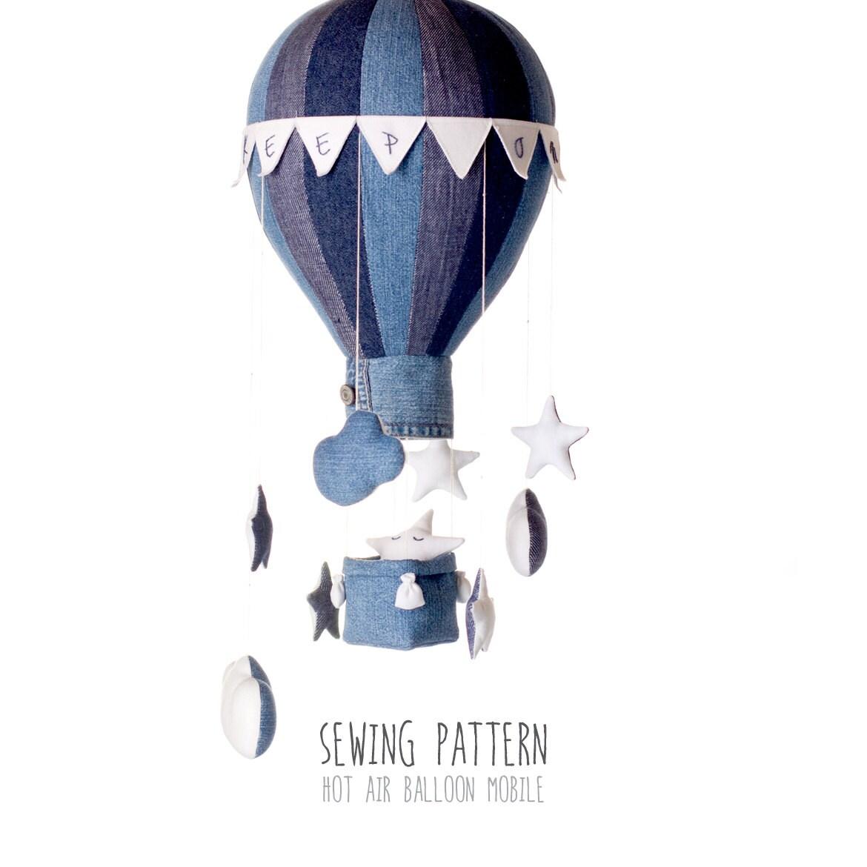 B4 DIY Heißluftballon mit Korb Ballast Fahnen Sterne und
